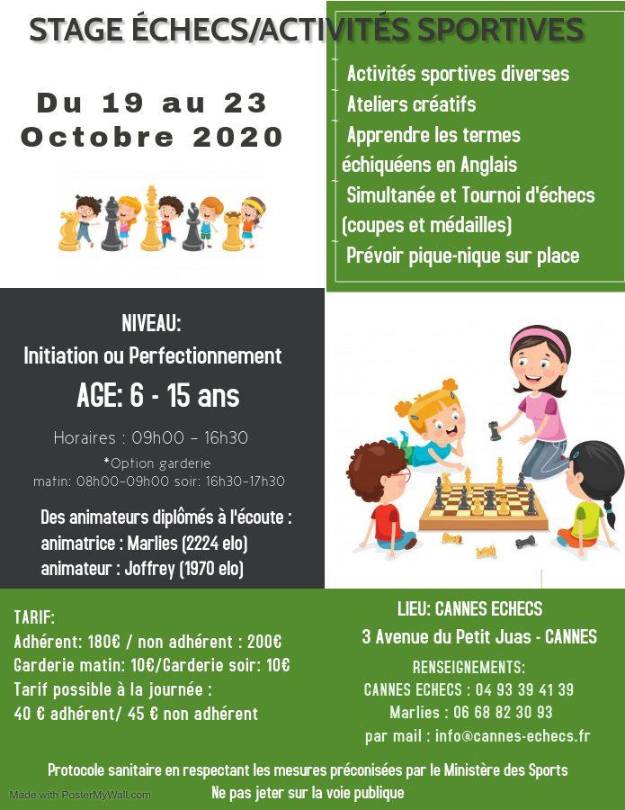 STAGE ENFANTS ECHECS/ACTIVITES SPORTIVES - 19 AU 23 OCTOBRE