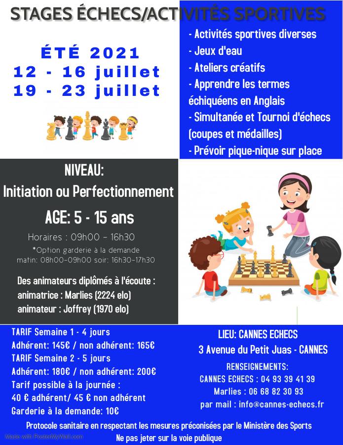 STAGE D'ETE ENFANTS ECHECS/ACTIVITES SPORTIVES - 12 au 16 et 19 au 23 juillet