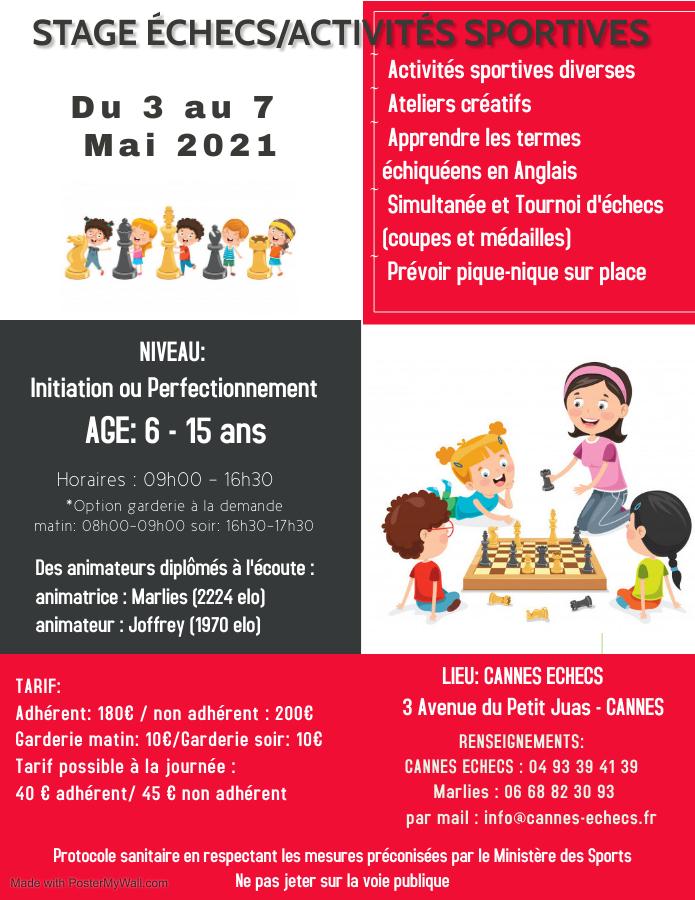 STAGE ENFANTS ECHECS/ACTIVITES SPORTIVES - 3 AU 7 MAI